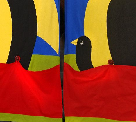 Bird Family  Double Curtain for Kids with 2 large by dgmart