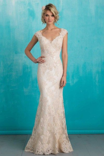 Allure 9313 | Inspired by vintage lace, this slip gown is both delicate and timeless.    Gown available in Ivory, Ivory/Champagne    *Pictured in Ivory/Champagne  Gateway Bridal | Salt Lake City Utah Bridal Shop | Utah Wedding Dress
