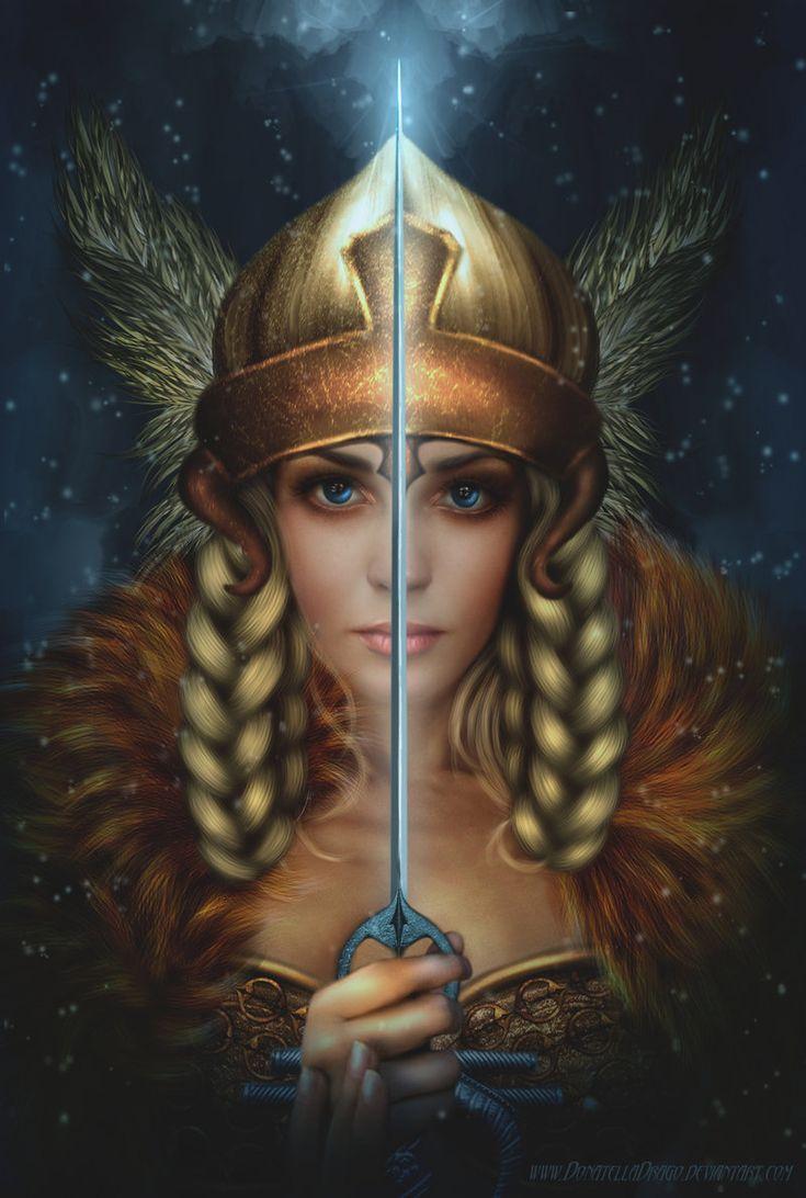 VALKYRIES = (Mythologie nordique) Divinités et vierges guerrières. Pourvues d'une armure, elles volaient et étaient destinées à se battre aux côtés d'Odin à la venue du Ragnarök. (Illustration : DONATELLA DRAGO - Valkyrie)