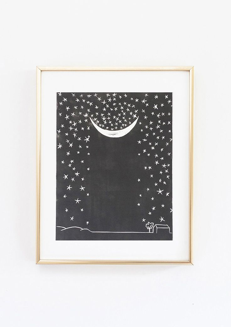 Set Forth Studio – Falling Stars Linocut Print, $45 // This art print of the moon catching stars will look gorgeous on your wall, and makes a great gift. Buy it now in the shop!