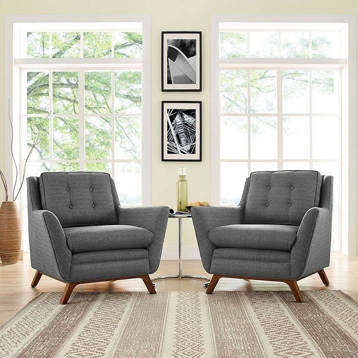 Beguile Living Room Set Fabric Set Of  In Grey