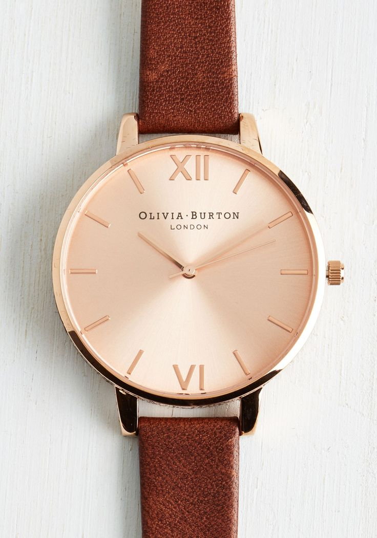 Olivia Burton Time Floats By Watch in Rose Gold/Cocoa - Grande | Mod Retro Vintage Watches | ModCloth.com