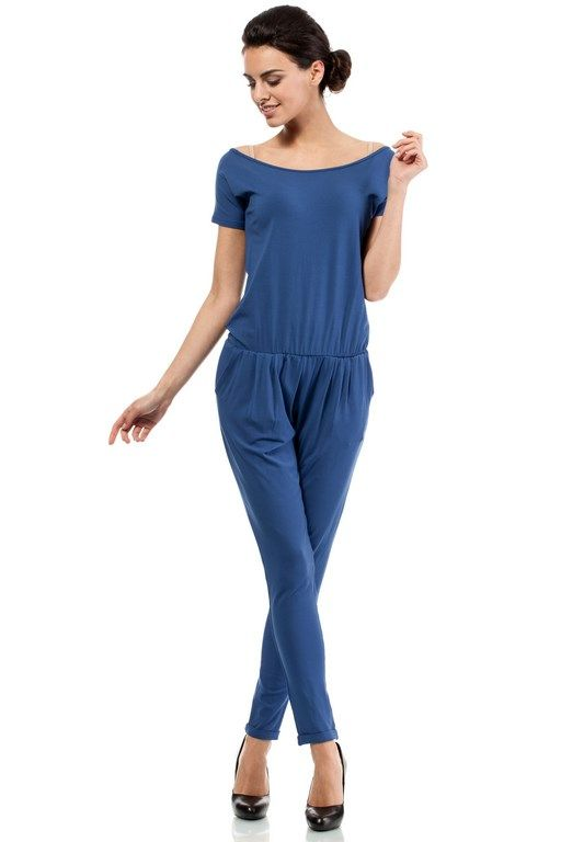 Blue jumpsuit Women's V-shaped boat