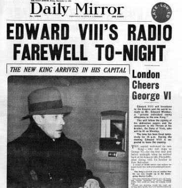 """Edward Prince of Wales """"David""""  now Duke & Dutchess of Windsor in Newspaper the Daily Mirror giving Radio Farewell speech. Announcement his brother as King George VI of England."""