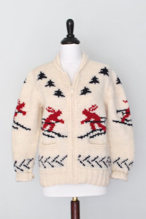 Womens ski sweater, new Cowichan knit from a vintage Mary Maxim Pattern, on Etsy, $139.00