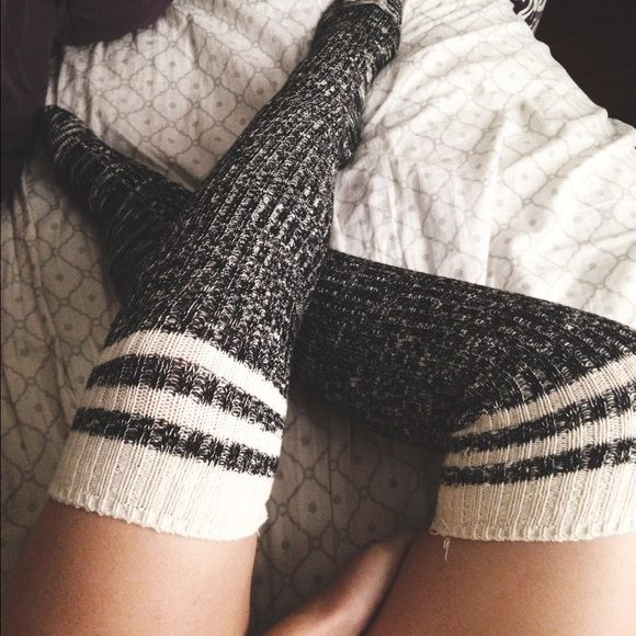 Striped tube socks Striped dark grey and white tube socks from cotton on // inside stitching is really loose making it look snagged, but they came that way, never been worn // depending on size of foot can be thigh high or knee high Cotton On Accessories Hosiery & Socks