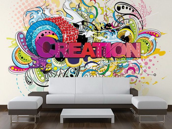 Modern Living Room with Creation Wall Mural Wall murals