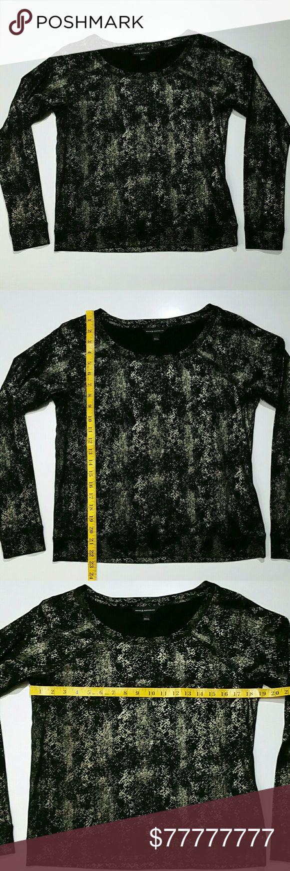 50% on 3+ Rock & Republic Medium Metallic Tee Excellent pre-owned condition. Black pullover with a bronze gold snakeskin design. (2-19) Rock & Republic Tops Tees - Long Sleeve