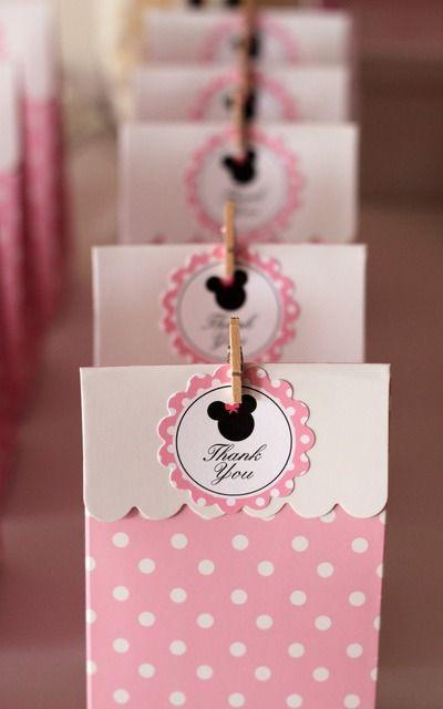 ♚ ♛ ♡ Bolsitas souvenir golosinas rosa con lunares blancos -  Cumple Temático Baby Minnie ♡ ♛ ♚ www.unabuenafiesta.com.ar