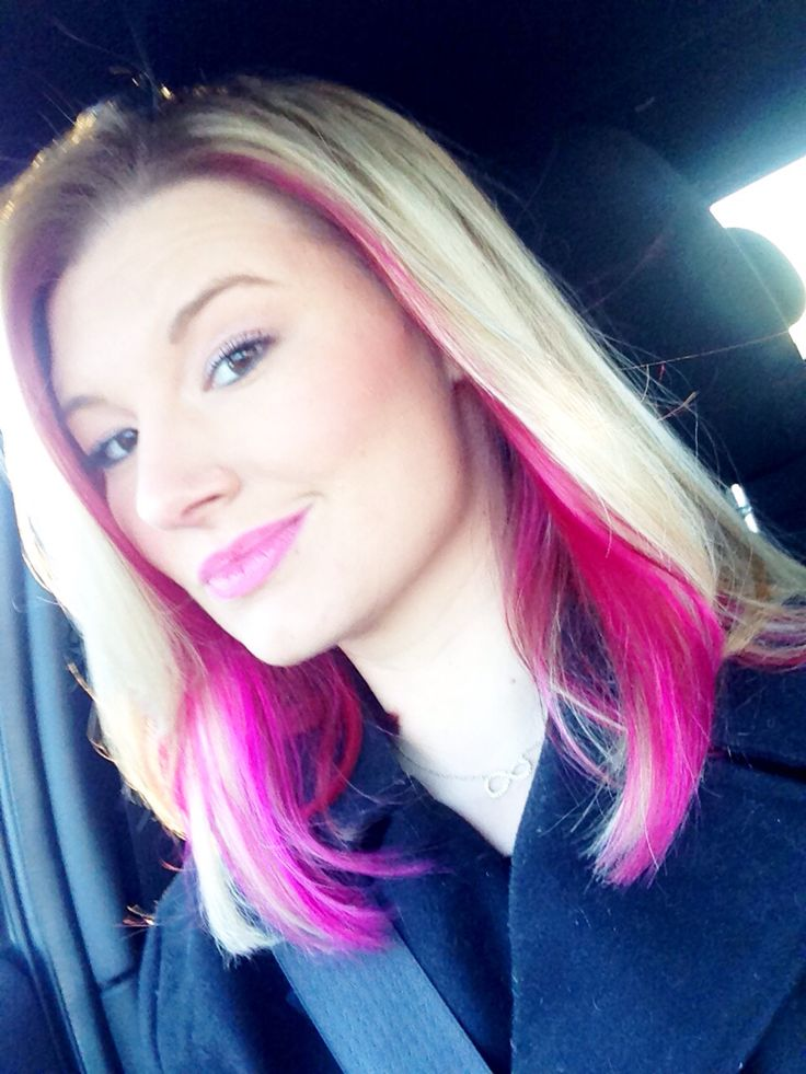 Peek A Boo Pink Under My Blonde Hair Love Love Love In