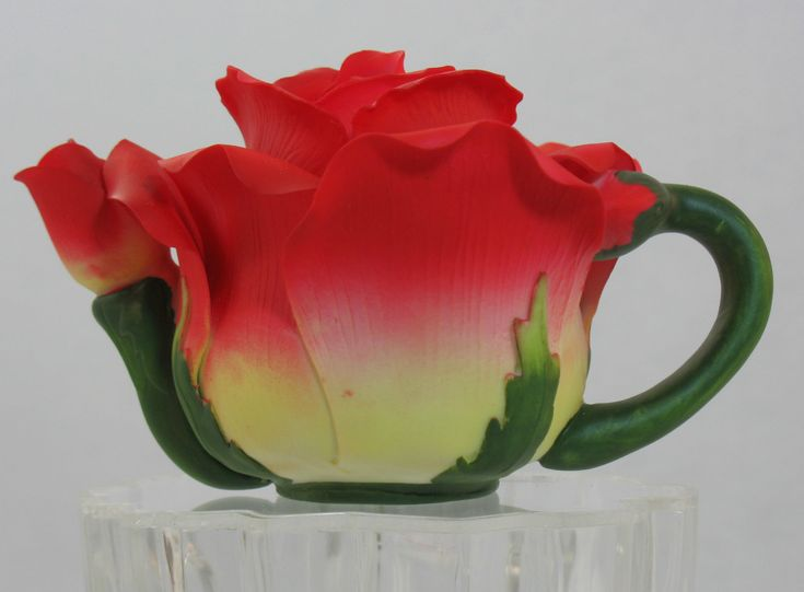 Fine Porcelain Rose Teapot Beautiful Red