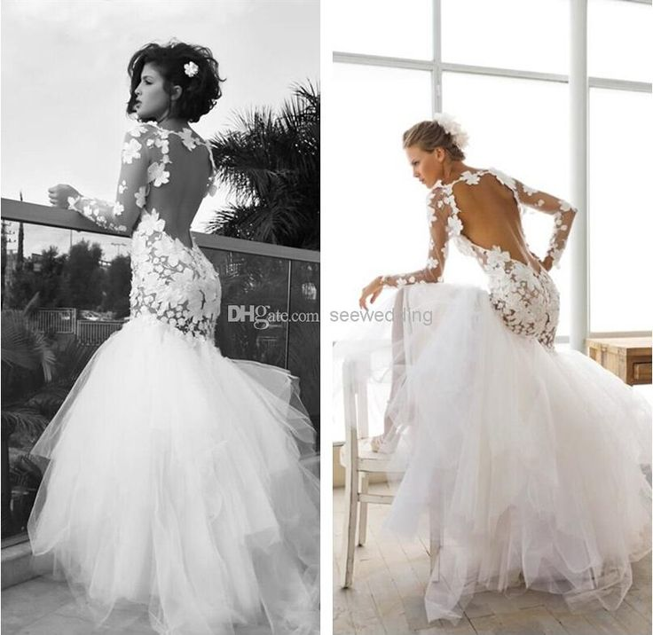 Wholesale mermaid wedding dresses buy dreamlike flower for Crew neck wedding dress