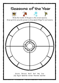 Free from The Learning Curve on TpT. This very simple worksheet is designed as an assessment task for my students. They need to write the correct months for the seasons into the spaces...