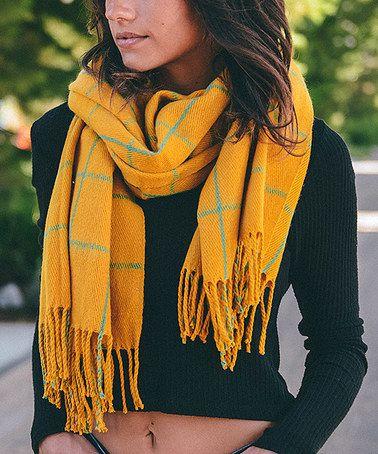 Another great find on #zulily! Mustard Windowpane Blanket Scarf #zulilyfinds