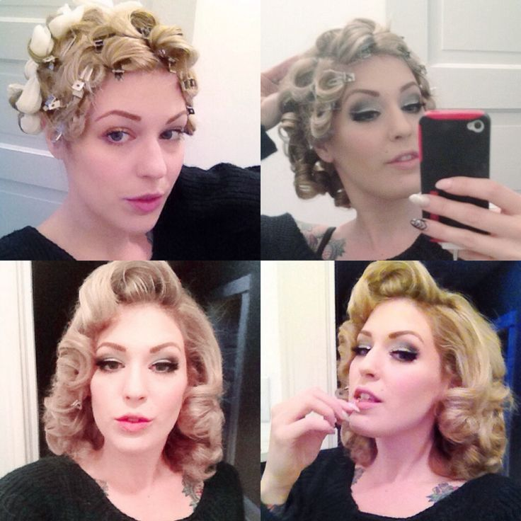 For this wet set, I was going for more of a Lauren Becall look.  I did barrel curls on my bangs, flat pin curls on the sides and sponge rollers for some extra volume in the back and crown.