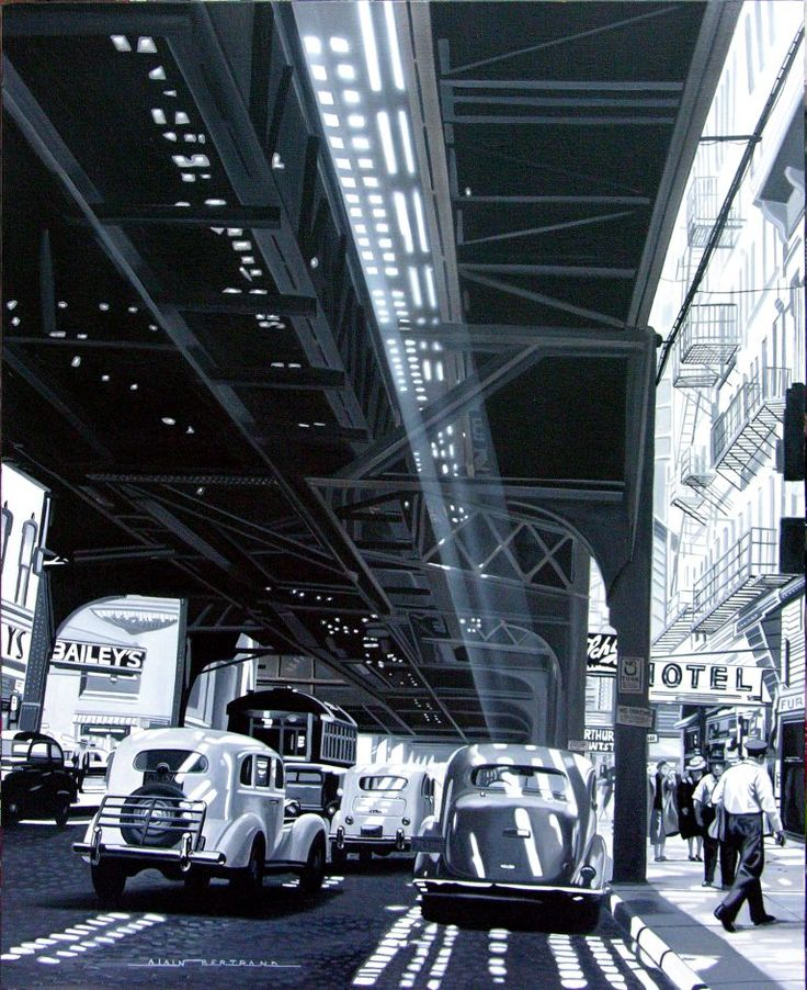 """Jeux de lumière n°1"" by Alain Bertrand. ‪#‎blackandwhite‬ ‪#‎newyork‬ ‪#‎car‬ ‪#‎galeriemecanica‬ ‪#‎mecanicart‬ ‪#‎light‬ ‪#‎reflect"