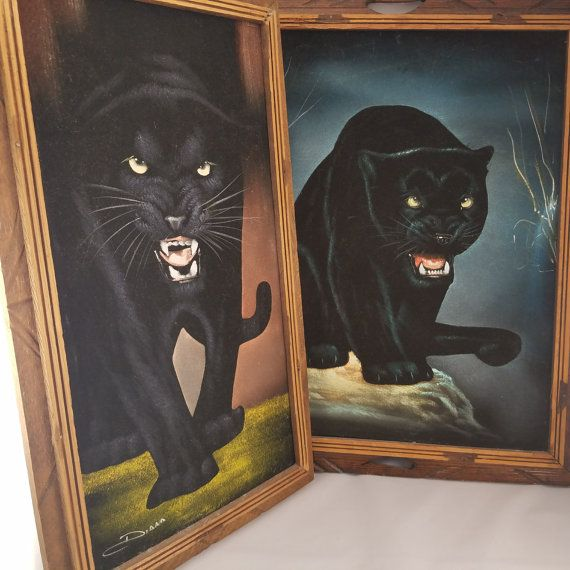 Hey, I found this really awesome Etsy listing at https://www.etsy.com/listing/473490292/black-velvet-black-panther-paintings-set