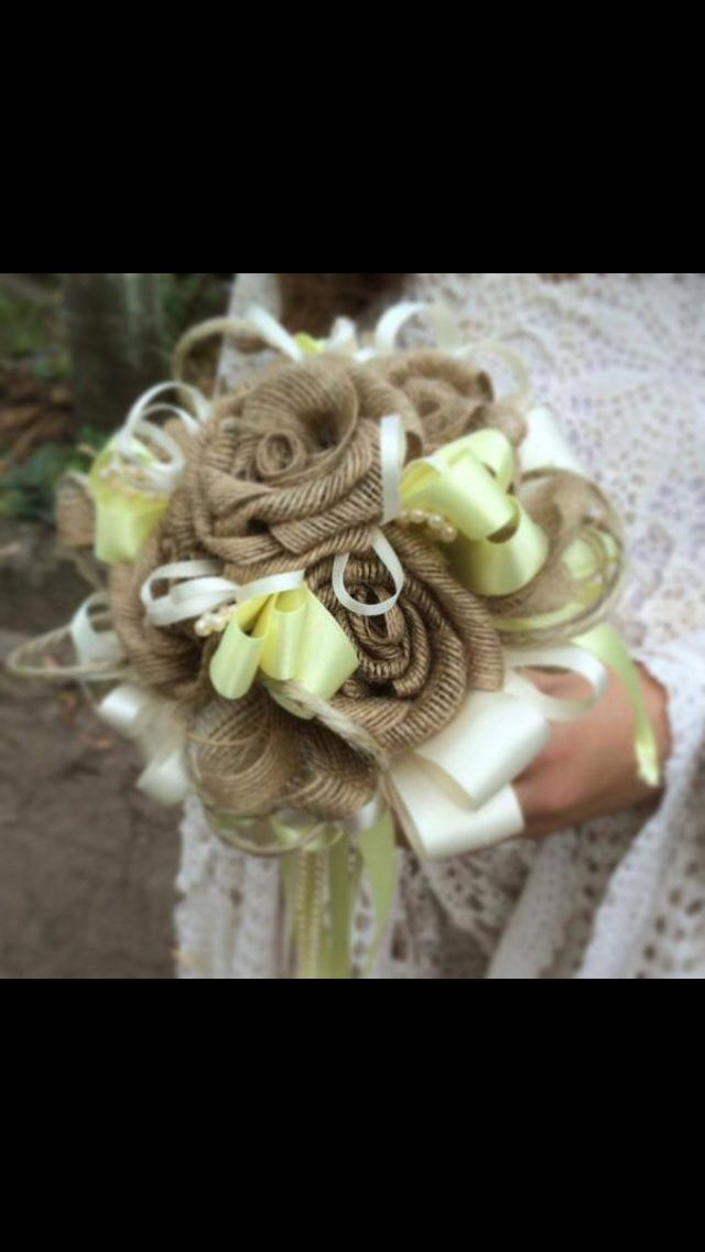 Bouquet with hand made hessian roses