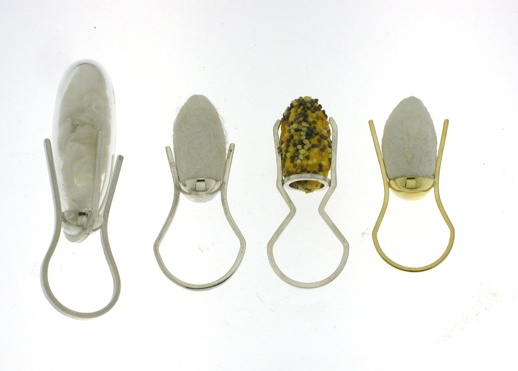 ANNA PENNAZA-ZA (SOUTH AFRICA) Contemporary Jeweller-Rings 2010-Silk worm cocoons, eggs, glass, sterling silver, gold