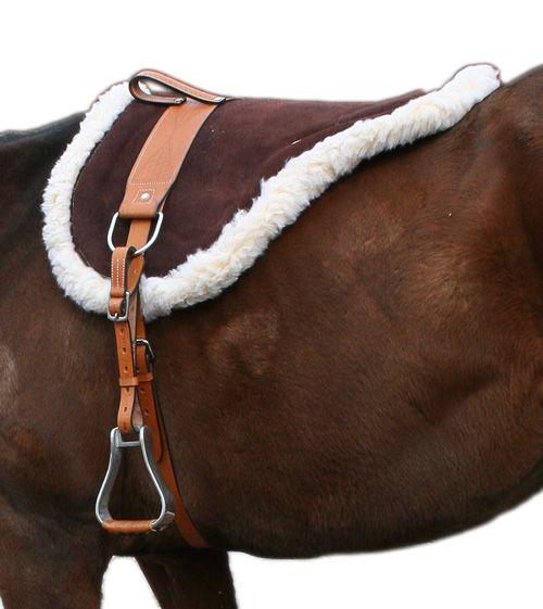Natural Horsemanship Premium Brown Leather Bareback Pad- Western Horse Saddles - Saddle Online