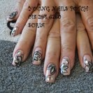 young nails cover pink with hand painted flowers