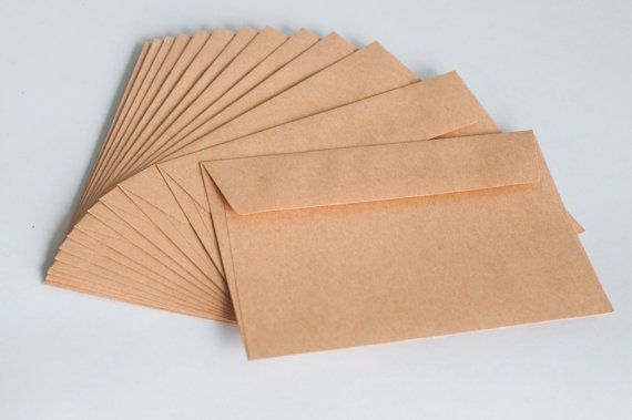 50 Kraft Envelopes / Brown Envelopes (fits any 4x6 cards)  Plain brown envelopes, kraft cards with zinnia flower and simple text, rsvp online?