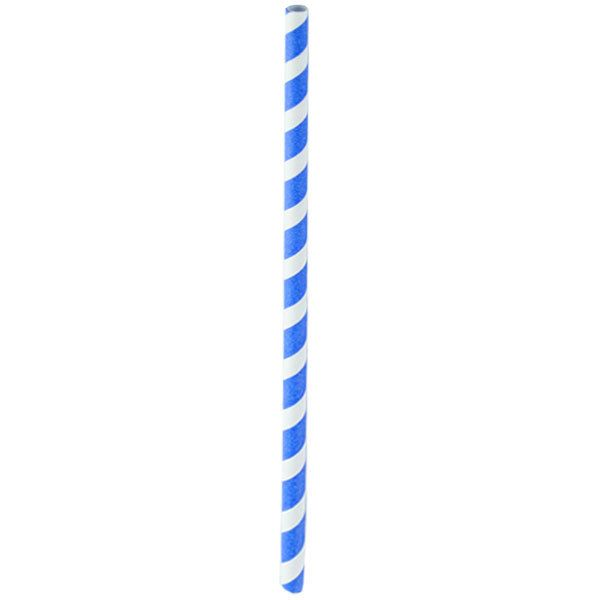 """Our Blue Striped Paper Straws will add a beautiful pop of color to your next party or event. The straws feature a gorgeous, blue and white striped design and are coated in all natural beeswax for added sturdiness. Each straw measures 8.3"""" L and comes unwrapped. Need several colors? Have a look here: red, pink, green, black, gold and black."""