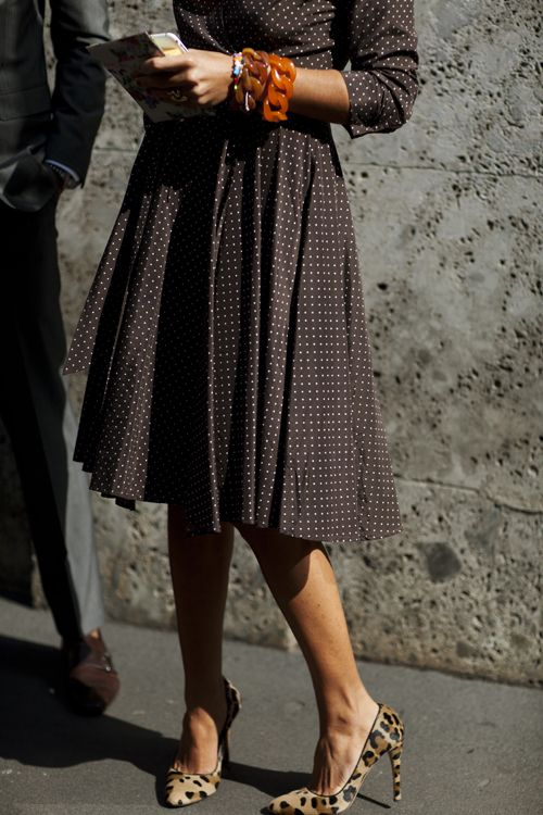 mini dots + leopard heels. >> Kind of a fun mix!