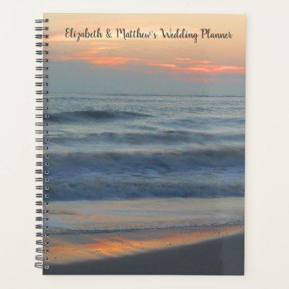 Personalized Beach Sunset Sands Surf Wedding Planner - winter wedding diy marriage customize personalize couple idea individuel