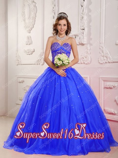 Beading A-Line Sweetheart Satin and Organza 15th Birthday Party Dresses in Blue