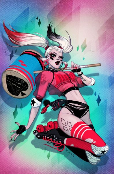 "babsbabsbabs: "" ♤ ♧ ♥ ♡ ♢ Exclusive Harley Quinn #1 variant cover for @friedpiecomics! Be sure to pick it up Aug 3rd! ♤ ♧ ♥ ♡ ♢ """