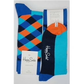 Blues Black Orange Squares Mens Dress Sock - Happy Socks