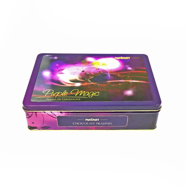 large chocolate tin with 3d stickers made in Tiinpak Dinah Yang