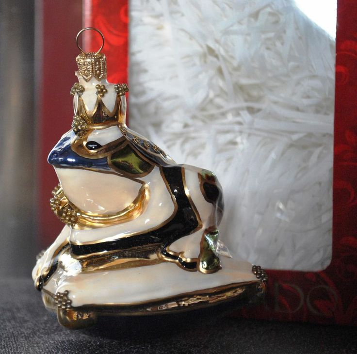 N SILVERADO Handcrafted FROG PRINCE Unique Christmas Glass blown Ornament BOX PL