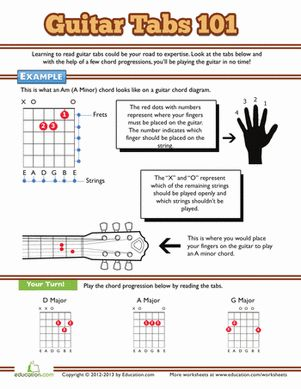 Help your child build her love of music and the arts with this beginner's sheet on reading guitar tablature!