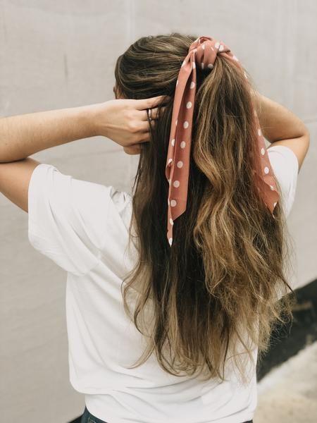 Fall Polka dot ribbon scrunchie – Terra Cotta