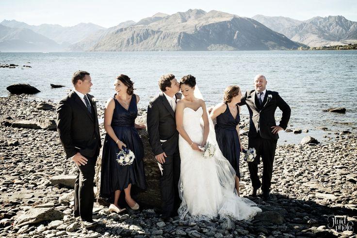 Bridal party by Lake Wanaka
