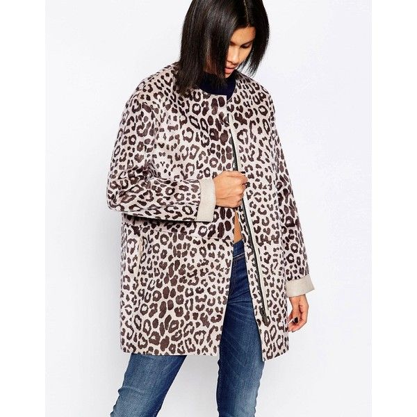 Pepe Jeans Faux Pony Fur Leopard Print Coat ($205) ❤ liked on Polyvore featuring outerwear, coats, multi, leopard fur coat, fur coat, oversized coat, collarless coat and tall coats