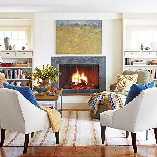 Focus on the Hearth // One thing I love about winter are all the fabulous throws and gorgeous pillows! Let's decorate! More cozy decorating ideas: http://www.bhg.com/decorating/seasonal/winter/winter-decorating-ideas/