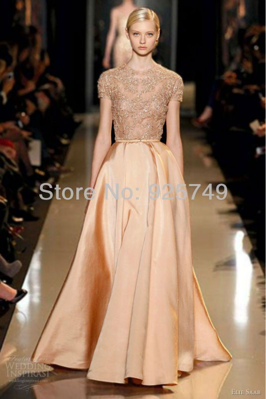 Elie-Saab Couture 2013 Melon Peach Blush Silk Shantung Gown Embroidered Lace Guipure Bodice Gold Evening  Dresses ES 90403 $168.00