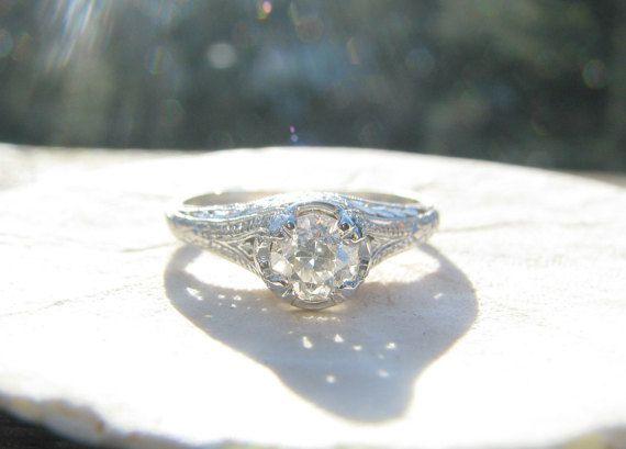1920's Platinum Diamond Engagement Ring Fiery Old by Franziska