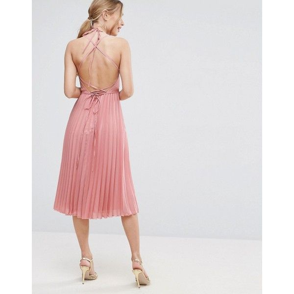 ASOS Wrap Front Pleated Midi Dress (€44) ❤ liked on Polyvore featuring dresses, beige, plunging neckline dress, pleated dresses, tall dresses, beige party dress and night out dresses