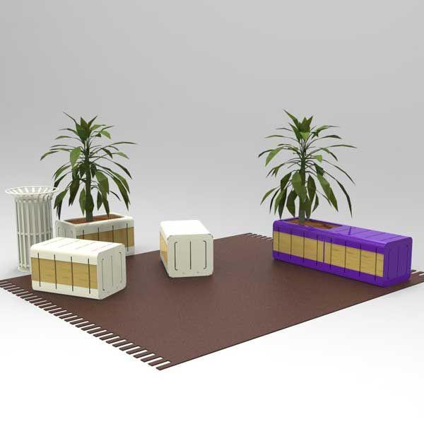 Bank en plantenbak uit de Qubic serie in een speelse opstelling. Iets voor uw plein, buitenruimte of binnenplaats?