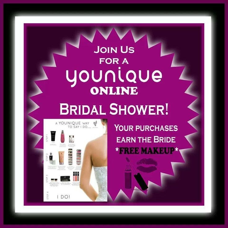 Are you looking for a Younique idea for an upcoming Bridal Shower? Younique virtual makeup parties are hosted completely online, allowing the bride's friends to attend from all over the country. And party purchases help earn the bride free makeup for her Big Day! Facebook.com/EnvyLynzee