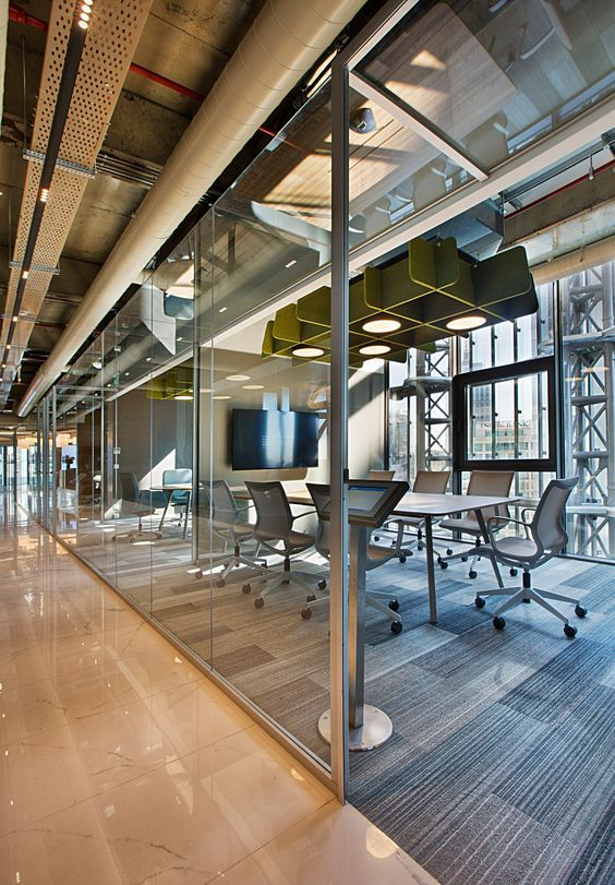 Industrial Office Interior with Exposed Services