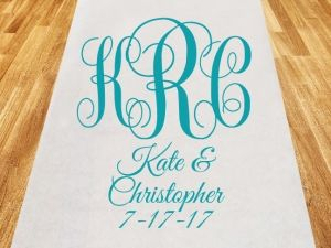 $62.41 Intertwined Monogram Personalized Wedding Aisle Runner (Cassiani Collection CM70022) | Buy at Wedding Favors Unlimited (https://www.weddingfavorsunlimited.com/intertwined_monogram_personalized_wedding_aisle_runner.html).