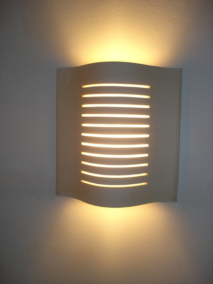 """wall lamp of ceramic """"Malaga"""" color off-white, dimensions: height 27,5 cm, weidth 26cm, depth 8,5cm. $180.00, via Etsy."""