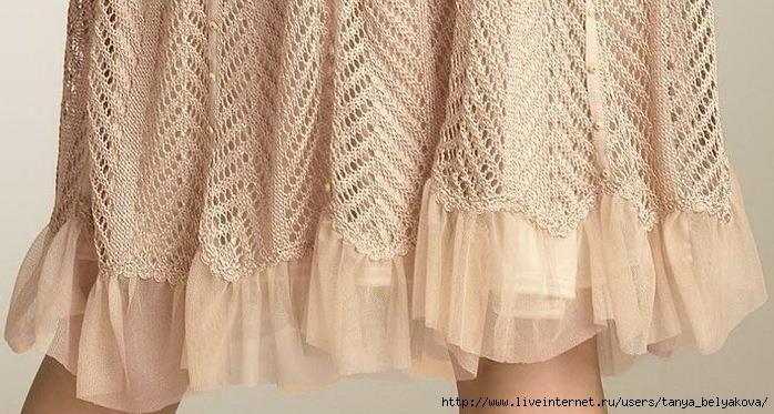 Вязаное платье спицами узор ёлочка