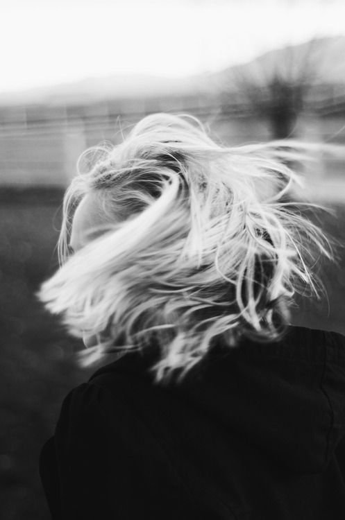 Black and white shot of girl with blonde hair
