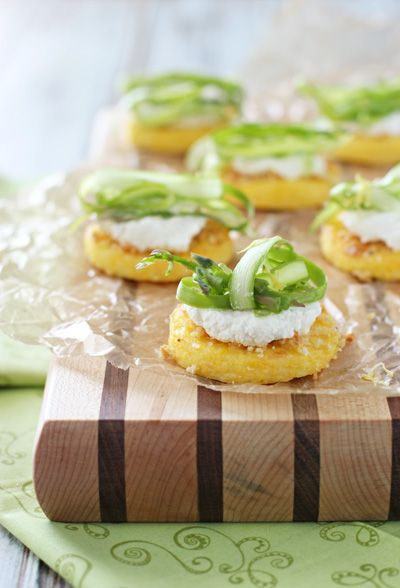 discount mens clothes Polenta Bites with Ricotta and Shaved Asparagus  Recipe